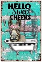 Decoration de salle de bain en metal  Hello Sweet Cheeks  citation dane  retro  ferme  pour bureau  maison  salle de classe  8x12 pouces