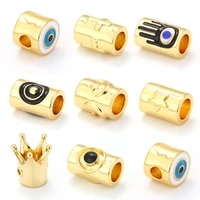 crown beads for jewelry making beads gold tube beads for diy bracelets copper zircon cz accessories metal charm bead wholesale