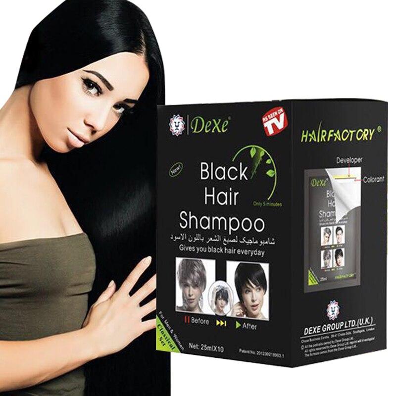 25mlX10pcs Economic Set Dexe Black Hair Shampoo Only 5 Minutes Color Dye Permanent hair dye care