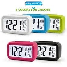 Alarm Clocks Lazy Snooze Alarm Clock Mute Backlit Electronic Clock Temperature Display Creative Digital Clocks Home Decor