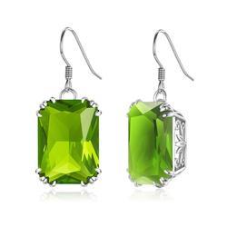 Szjinao verde espumante brincos de prata para mulher peridot longo earings real 925 prata esterlina casamento jóias finas brincos quente