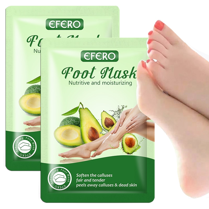 EFERO 2 Paar Avocado Peeling Fuß Maske für Pediküre Socken AntiCrack Ferse Schwielen Häutchen Remover Fußpflege Füße Peeling Maske