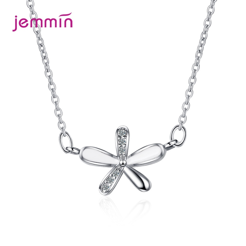 Sparkling CZ Blossom Flower Sterling Silver 925 Pendant Necklace for Women Charm Necklace Fine Jewelry Girl Gift the hottest happiness can be found pendant necklace dumbledore quote j k rowling porter charm gift jewelry pendant xkhlhj