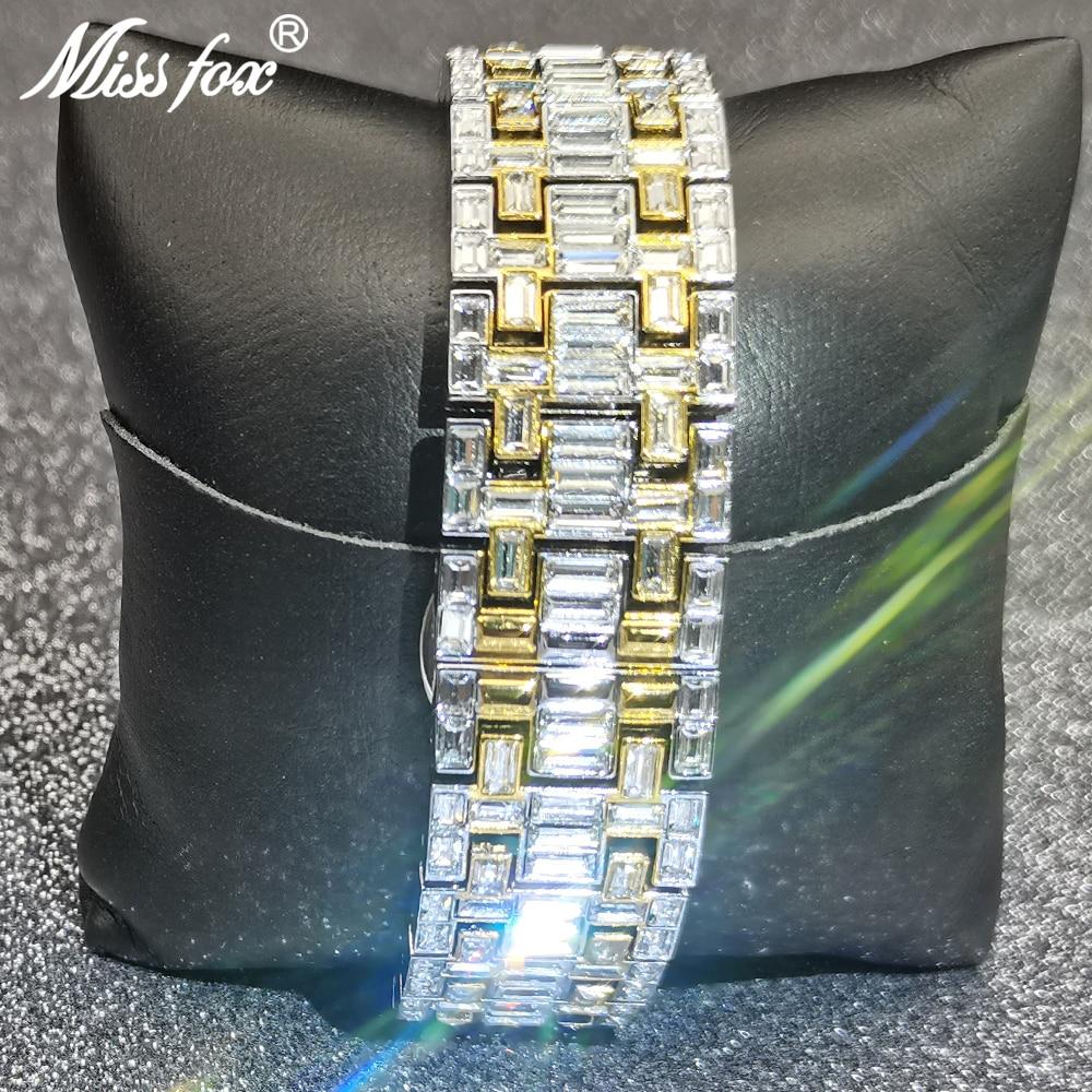 MISSFOX Automatic Mechanical Men Watches Hip Hop Full Diamond  Square Gold Bling Wristwatch Classic AAA Clocks Relógio masculino enlarge