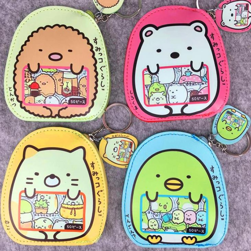 1 sztuk Kawaii Mini PU monety kiesy japoński Sumikko Gurashi zmień kobiety portfel na klucze sakiewki na monety etui na karty zabawki figurki akcji prezenty