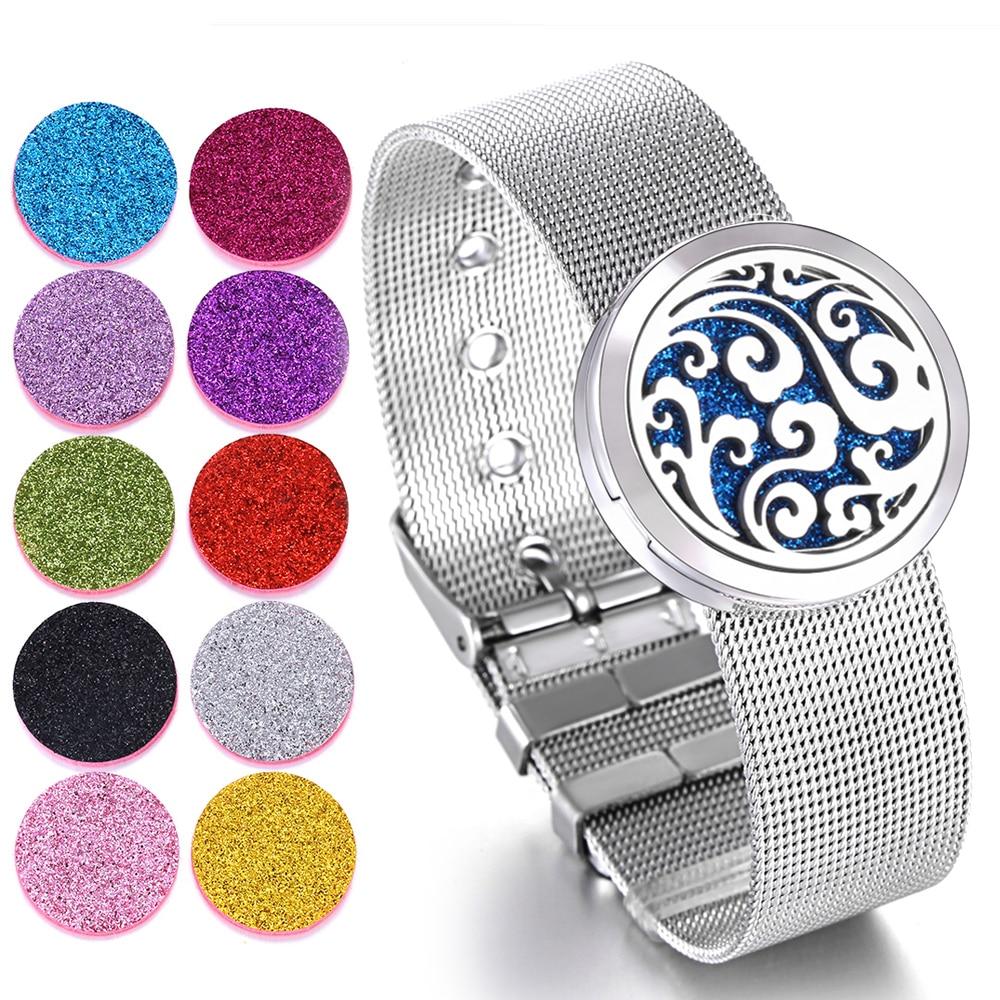 Aromatherapie Medaillon Armband Edelstahl Armband Uhr Armband Ätherisches Öl Aroma Diffusor Parfüm Medaillon Armband