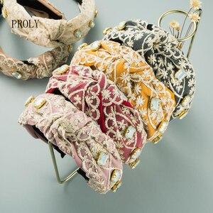 PROLY New Fashion Women Hair Accessories Fresh Lace Rhinestone Hairband Center Knot Snowflake Crystal Headwear