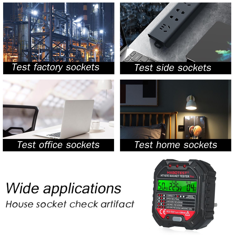 HABOTES GFCI Outlet Tester Voltage 90-250V Socket Tester Automatic Electric Circuit Polarity Voltage Detector Breaker Finder