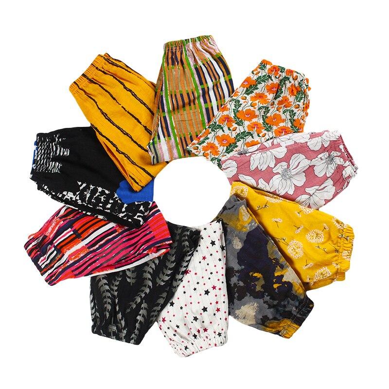 Купить с кэшбэком Summer Kids Pants Baby Boys Thin Anti Mosquito Pant New Print Flax Children Clothing Baby Girls Colorful Lantern Trousers
