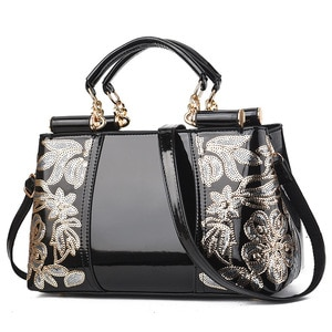 Embroidery Women Bag Leather Purses and Handbags Luxury Shoulder Bags Female Bags for Women 2020
