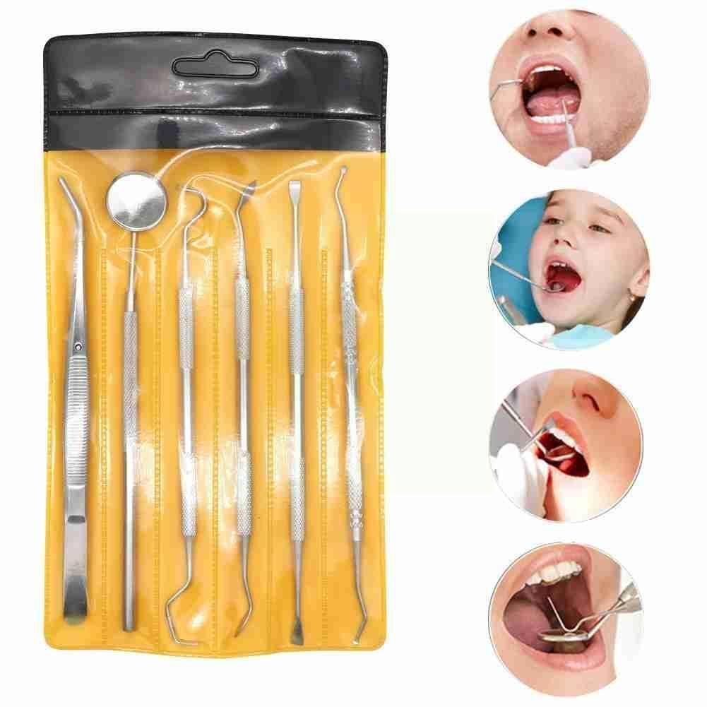 Dental Mirror Steel Dental Dentist Prepared Tool Set Tooth Probe Tweezer Care Hoe Kit Sickle Instrument J1z4 недорого