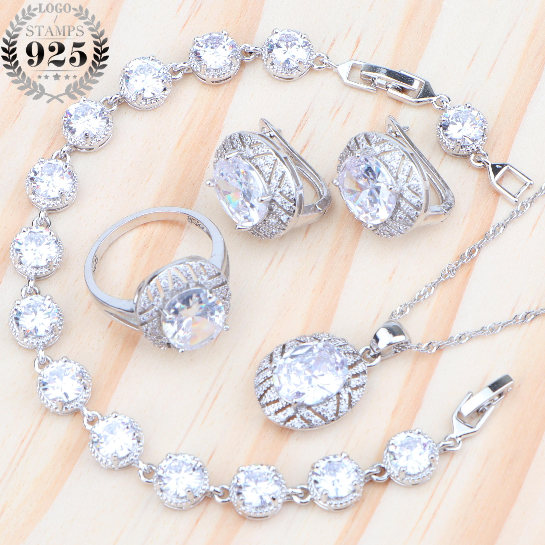 Hochzeit Weiß Zirkon Frauen Silber 925 Schmuck Sets Kostüm Schmuck Ohrringe Anhänger Halskette Ringe Für Braut Set Geschenke Box