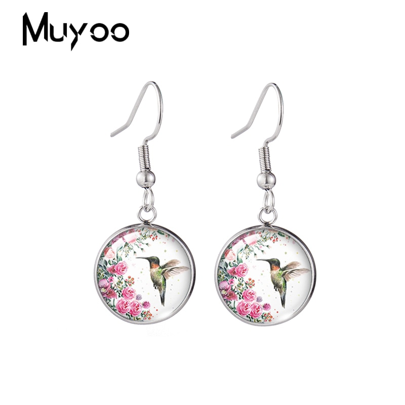 2020 New Hummingbird and Flowers Earring Round Fish Hook Earrings Handmade Glass Cabochon Jewelry