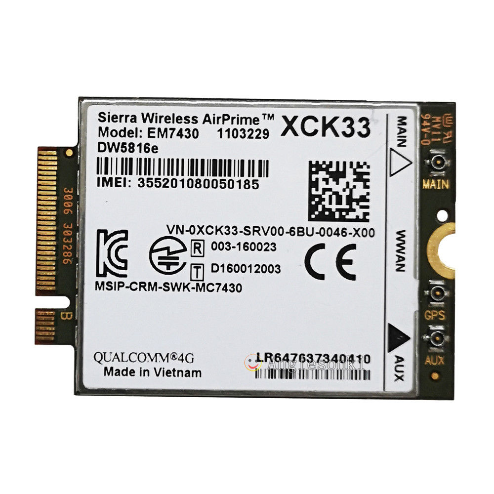 snapdragon lte x7 xck33 pkwt8 em7340 3g 4g wwan sierra modulo cartao para dell dw5816e