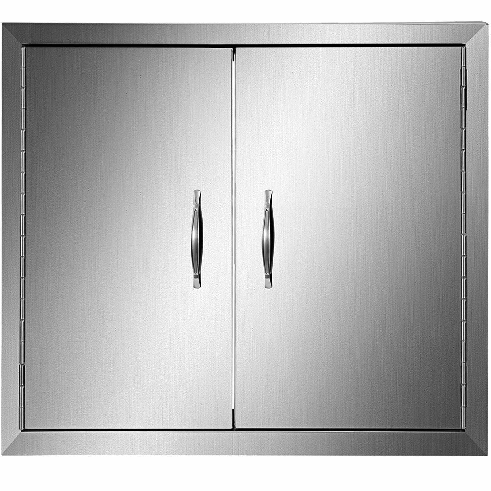 Vevor خارج المطبخ باب مزدوج مقبض من الفولاذ المقاوم للصدأ خزانة مقاومة للماء دائم الباب المغناطيسي للتعرض العاصفة الممطرة