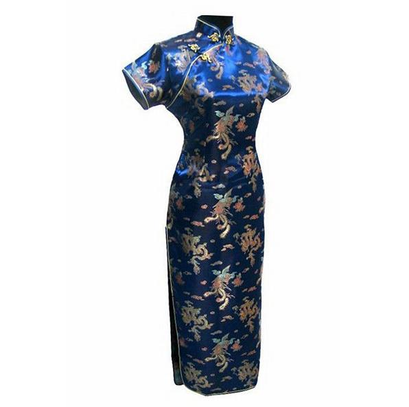 Knit Vintage Long Women Qipao Vestidso Short Sleeve Navy Blue Cheongsam Mandarin Collar High Split Evening Party Dresses