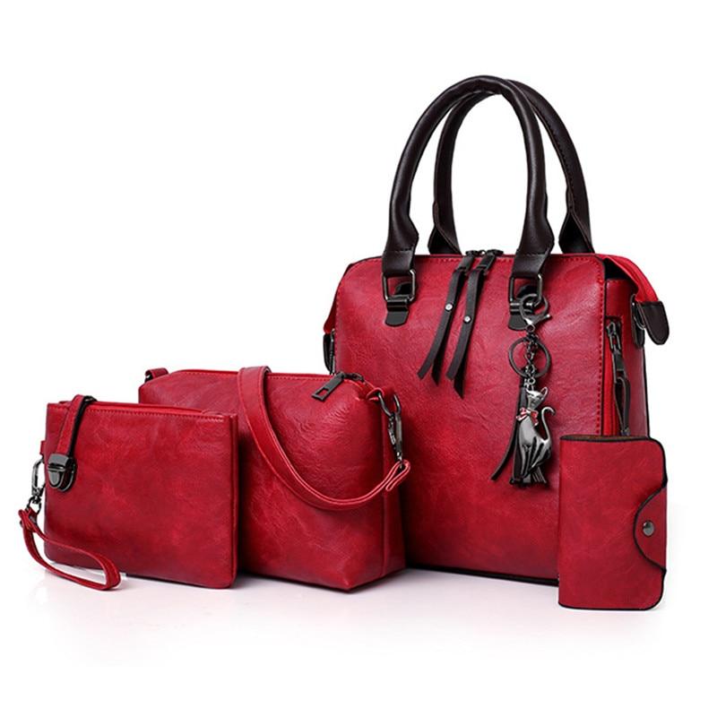 الفاخرة العلامة التجارية 4 Psc/مجموعة المرأة حقائب كبيرة قدرة المرأة حقيبة السيدات جلد حمل الأزياء الكتف أكياس للنساء 2021 محفظة