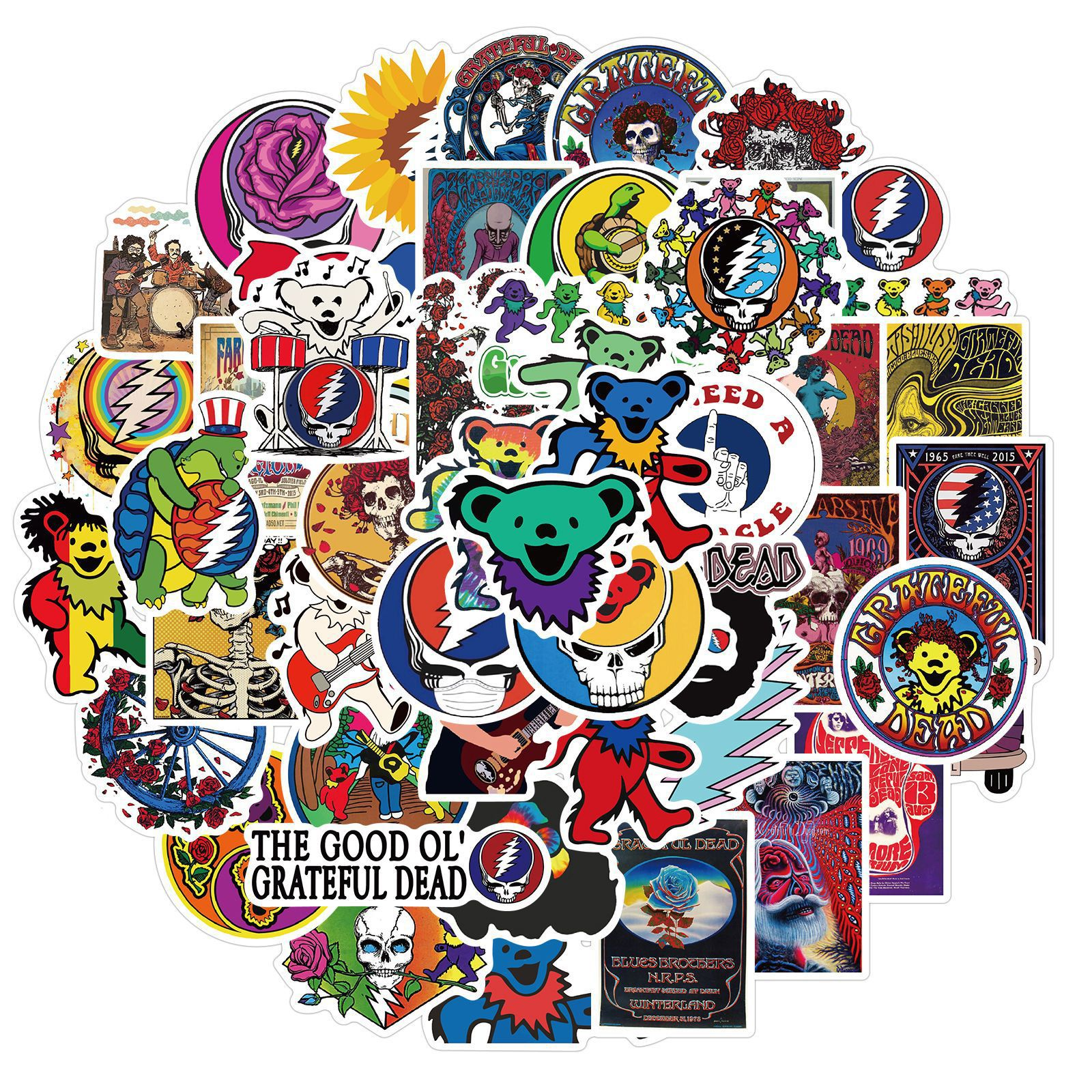 10/50pcs Popular Singers Greatful Dead Graffiti Stickers For Skateboard Box Bicycle Computer Notebook Car Decal Children's Toy