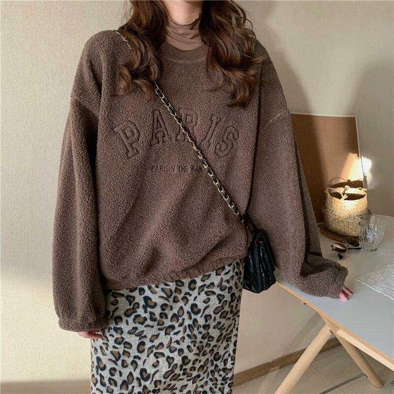 Korean Version Of Loose Oversized Embroidered Round Neck Long Sleeve Letter Print Pullover Harajuku Sweatshirt женские свитера