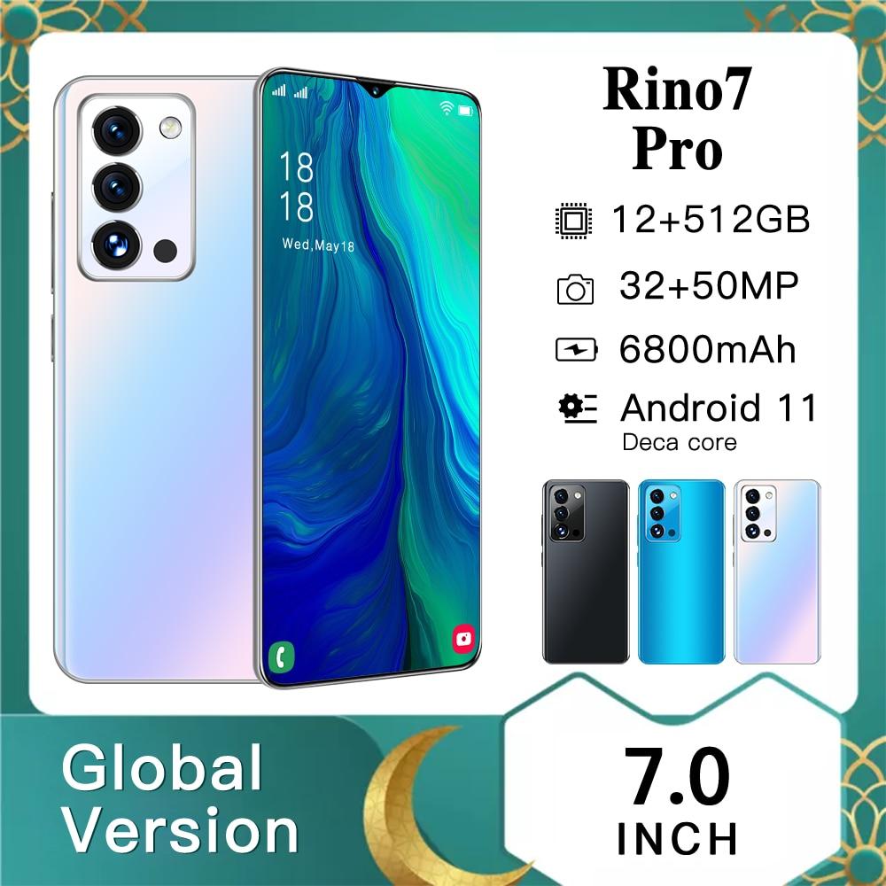 Smartphones OPPI Rino7 Pro 7.0 12GB RAM 512GB ROM Andriod11.0 Deca Core Qualcomm 888 Dual SIM 4G LTE 5G 6800mAh Mobile Phone  - buy with discount