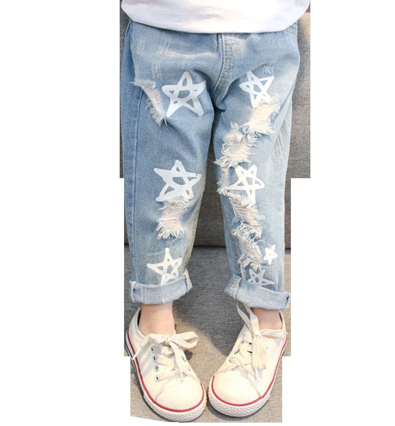 Джинсы для маленьких девочек джинсы с принтом звезды, штаны для девочек, детские джинсы с эластичной резинкой на талии, новая осенняя одежда для маленьких девочек Джинсы    АлиЭкспресс