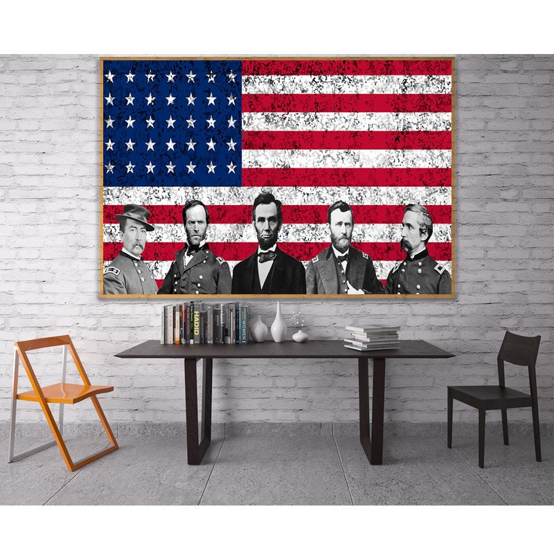 Diy 5D bandera americana guerra Lincoln Presidente pintura completa diamante punto de cruz kits de arte retrato pintura 3D por diamantes