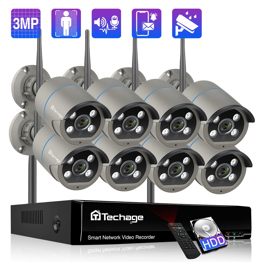 Techage 8CH 3MP Wireless Security Camera System Two-Way Audio Human Detection WiFi IP Camera CCTV Video Surveillance Camera Kit