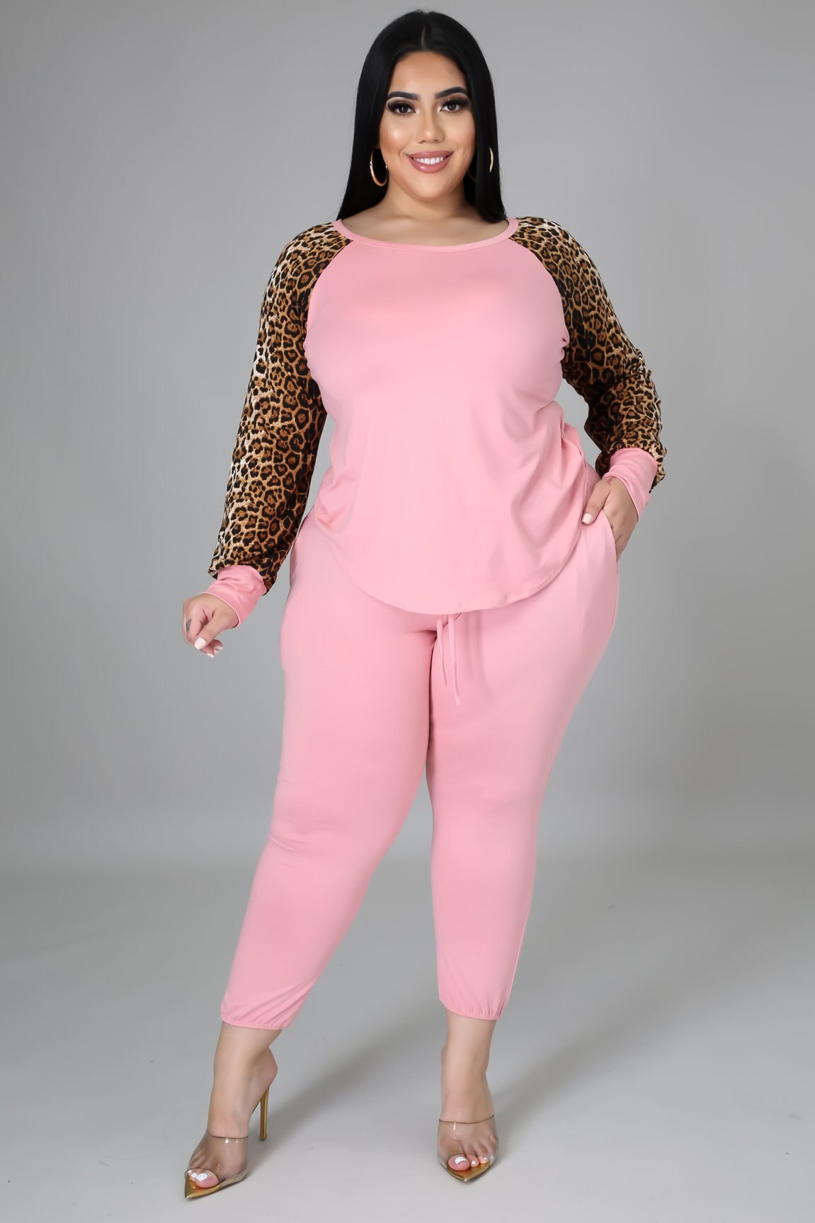 Комплекты ChocoMisty-LadyPlus больших размеров, повседневные брюки с леопардовым принтом в стиле пэчворк SC0327