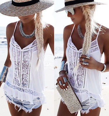 Women White Tops Summer Fashion Loose Vest Tank Sleeveless Casual Sleeveless White Lace V-neck