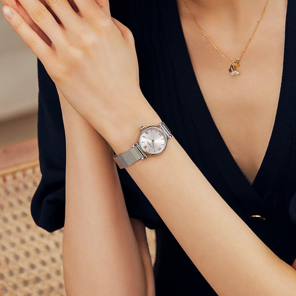 CADISEN 18K GOLD Woman Watch Luxury Brand Stainless steel Mesh Belt Wristwatch 30M Waterproof Gold Quartz Watch relogio feminino enlarge