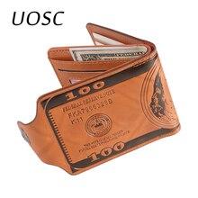 UOSC Luxe 100% Portefeuille En Cuir véritable Mode Courte à deux volets portefeuille Homme Décontracté solide Portefeuille Avec Poche À Monnaie Porte-Monnaie Homme Portefeuilles