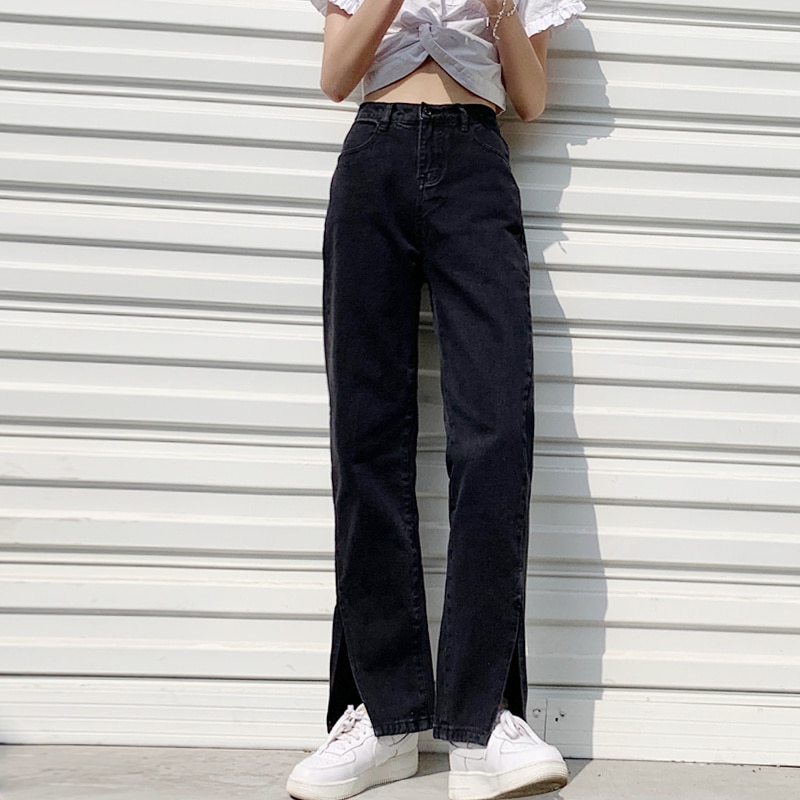 Black Jeans Women's Straight Tube Loose 2021 New Spring and Autumn High Waist Wide Leg Pants Look Th