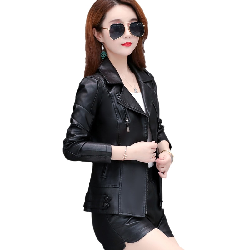 2020 New Leather Women's Jacket Spring And Autumn Short Slim Slimming Small Leather Jacket Fashion Trend Motorcycle Zipper PU Le enlarge
