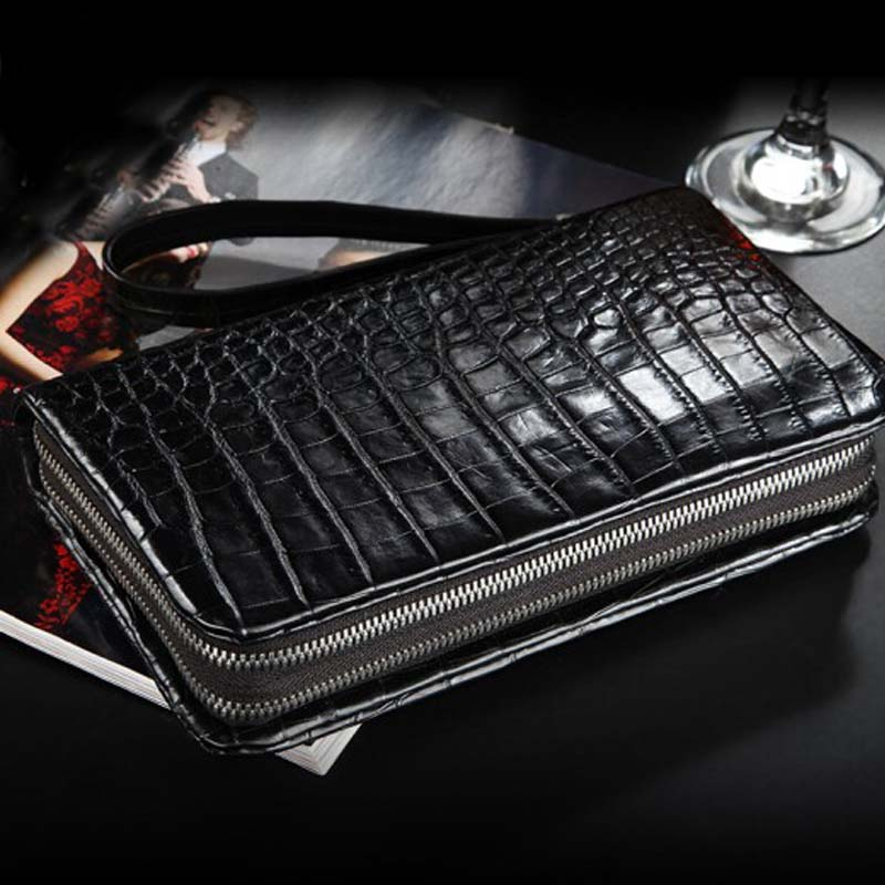 yinshang new  Double zipper  crocodile leather men clutch bag  business  male bags  large capacity  zipper  Male hand caught bag