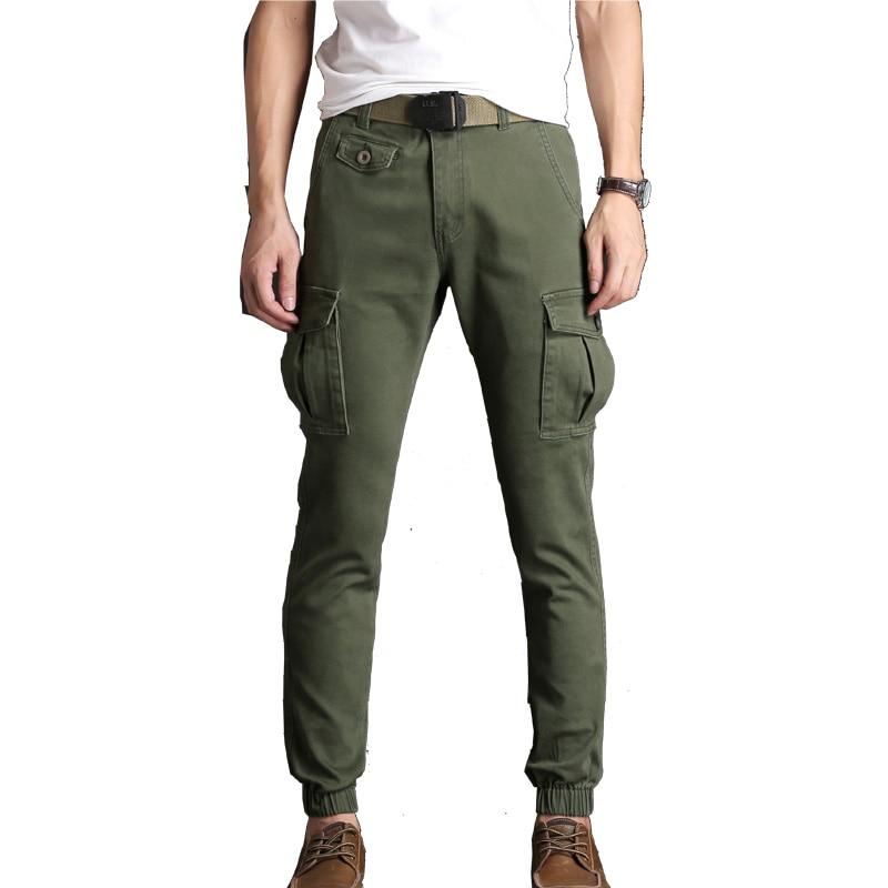 Pantalones Cargo para hombre de punta fina ropa de calle elástica estrecha Vogue tela elástica longitud del tobillo pantalones caqui negros muchos pantalones de bolsillo para hombre