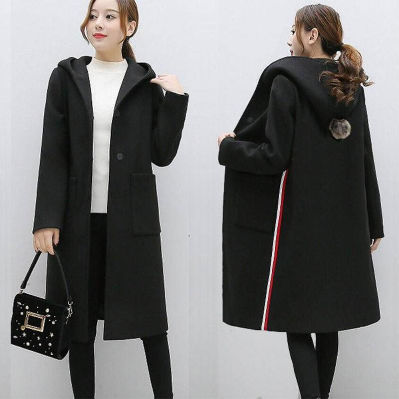 Chaqueta cárdigan larga con capucha para mujer, chaqueta de Otoño Invierno, abrigo largo femenino