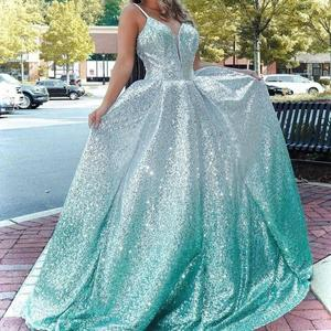 Ombre Prom Dress 2020 Ball Gown Spaghetti Neck Quinceanera Draped Skirt Open Back Formal Party Event Gowns Silver Mint