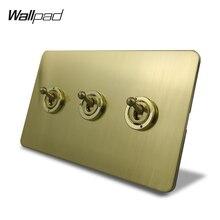 Interrupteur de lumière électrique   Wallpad, Satin or 3 gangs, interrupteur à bascule 1 ou 2 voies, interrupteur de lumière électrique, panneau en acier inoxydable de couleur en laiton brossé