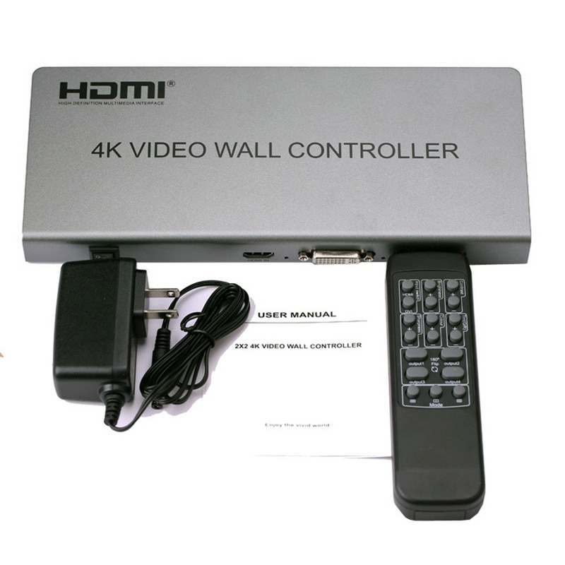 4K 2x2 Video wall controller 1 HDMI/DVI Input 4 HDMI Output 4K TV Processor Images Stitching Video Wall Processor enlarge