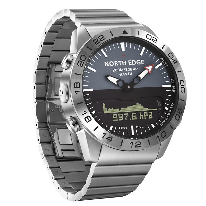 NORTH EDGE Men Dive Sport Digital Watch Women Watches Luxury Full Steel Business Waterproof Altimeter Compass Reloj Montre Homme enlarge