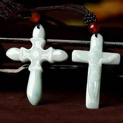 1pc Esmeralda Natural cruz de Jesús colgante de Jade collar de perlas de encanto de joyería de moda tallada a mano hombre mujer amuleto de la suerte, regalos