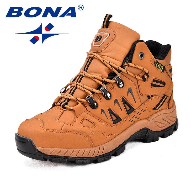 BONA/Новинка; стильные мужские треккинговые кроссовки из натуральной кожи; Мужская Спортивная обувь на шнуровке; уличные мужские беговые треккинговые кроссовки; Бесплатная доставка