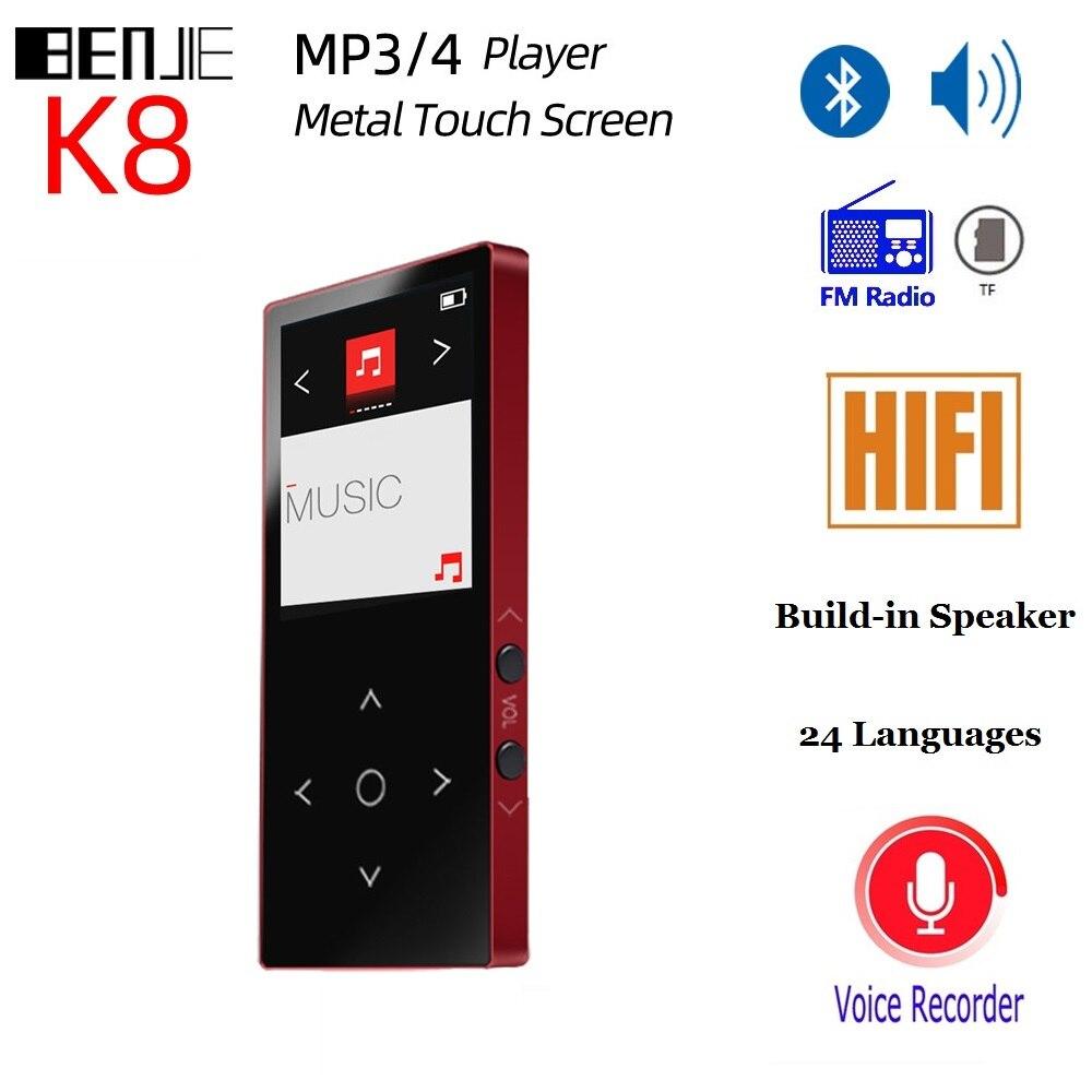 Bluetooth FM Radio MP3 lecteur de musique 8G HIFI MP4 lecteur écran tactile avec haut-parleur sans perte HiFi son lecteur vidéo