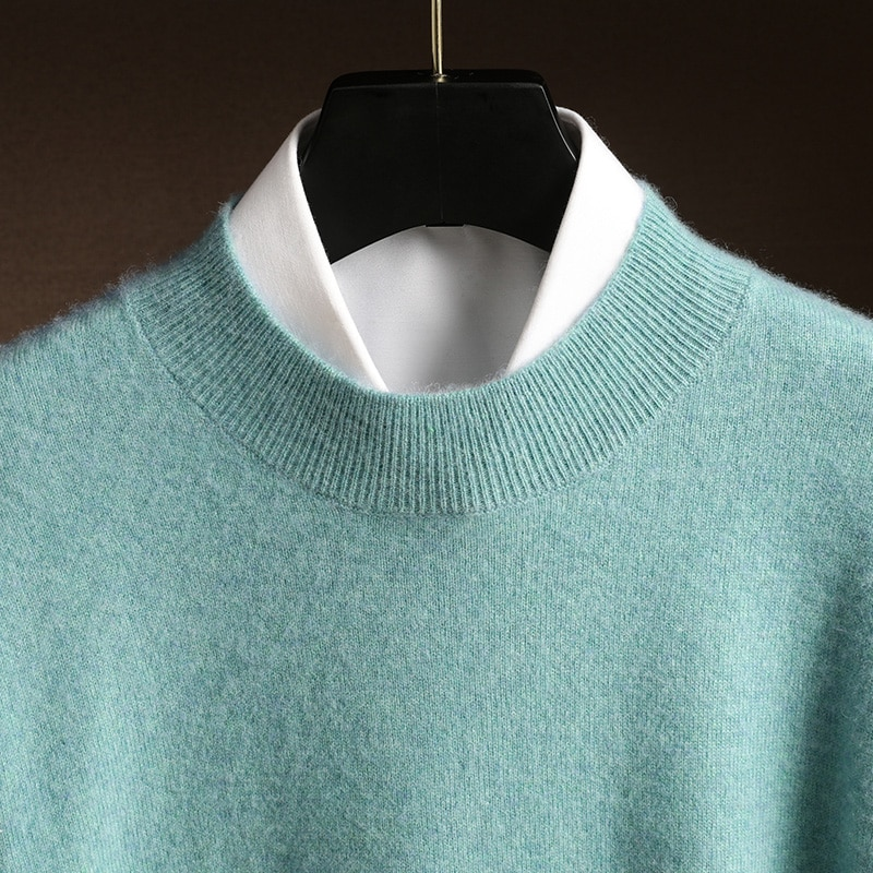 Men's Cashmere Sweater 2020 Autumn Winter Casual Half Turtleneck Knitted Jumper Warm Solid Color Cashmere Pullovers