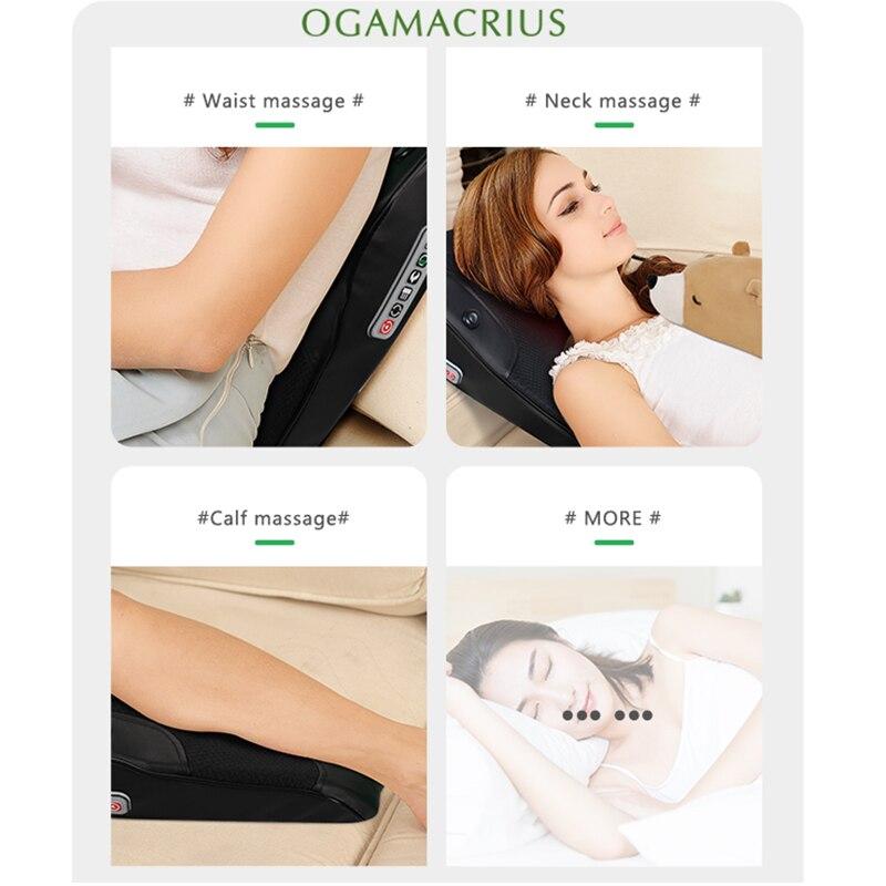 Ogamacrius 3 in 1 Newest  Massage Pillow Neck  Waist Shoulder Black  Electric Healthy Home Full Body Shiatsu Massager enlarge