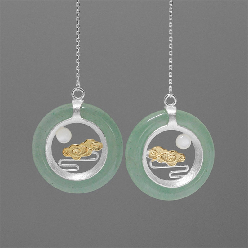 INATURE 925 Sterling Silber Aventurin Wolke und Mond Design Runde Lange Tropfen Ohrringe für Frauen Jewerly Geschenke