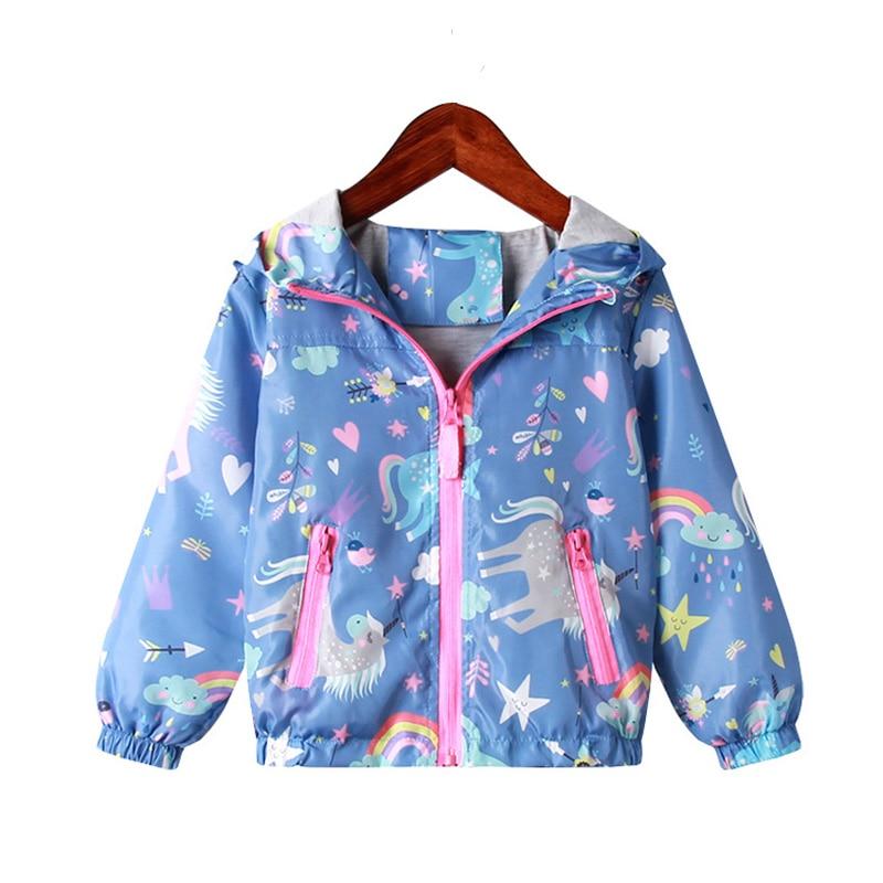 Весенняя куртка для девочек, пальто с капюшоном, единорог, радуга, одежда для маленьких девочек, верхняя одежда, детская ветровка, осенние куртки для девочек