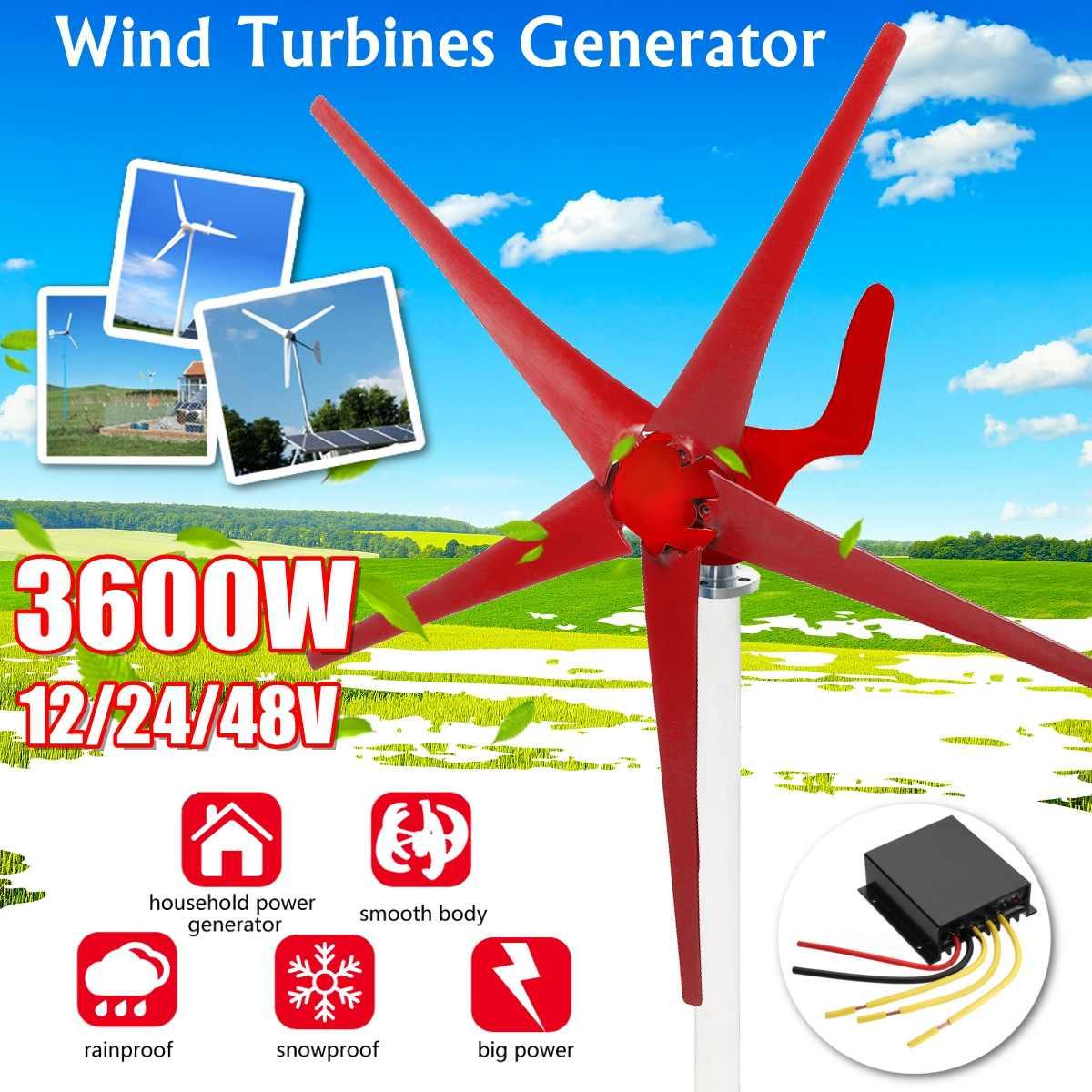 3600 واط 12 فولت/24 فولت/48 فولت 5 شفرة توربينات الرياح مولد كفاءة توربينات الرياح أفقي الطاقة المنزلية طاحونة الطاقة توربينات الطاقة تهمة
