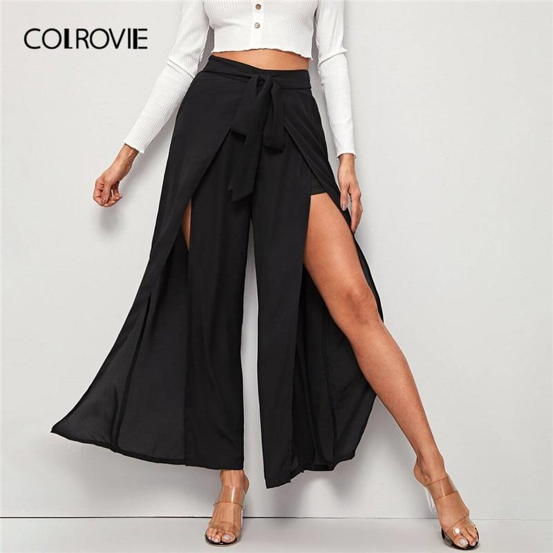COLROVIE Black M-slit Thigh Belted Palazzo Pants Women 2020 Spring Zipper Fly High Waist Wide Leg Loose Long Boho Pants