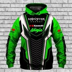 Nova kawasaki hoodie impressão 3d moletom pulôver jaqueta da motocicleta dos homens de alta qualidade casual harajuku oversized streetwear